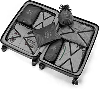 Travel Packing Cubes 8 Pcs Set, Luggage Packing Organizers with Shoe Bag and Toiletry Bag (Black)