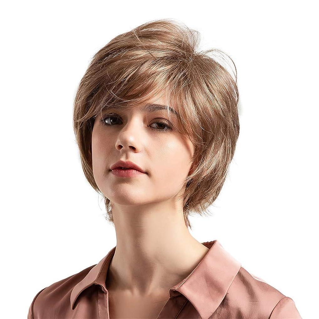 インカ帝国スカープ連想薄茶色の混合色の自然な巻き毛の短い髪の かつら