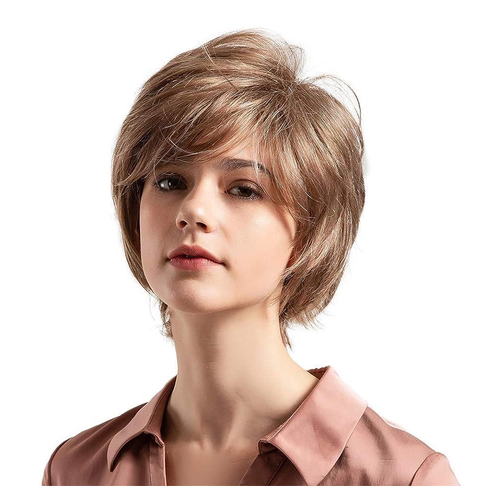 船外助けて連続的薄茶色の混合色の自然な巻き毛の短い髪の かつら