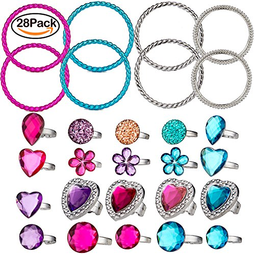 WATINC 20pcs Rings&8pcs Bracelets Princess Pretend Jewelry Toy, Girl's Jewelry Dress Up Play Set, Decorations Toy Gift Fun, Birthday Party Favor Supplies, 28Pack
