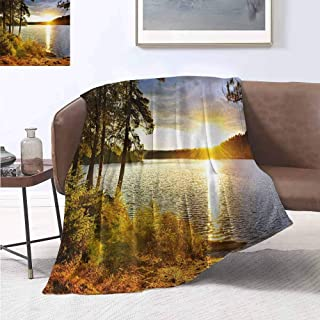 jecycleus Landscape Comfortable Large Blanket Sunset Dawn in The Forest Over Lake of Two Rivers Algonquin Park Ontario Canada Microfiber Blanket Bed Sofa or Travel W55 by L55 Inch Multicolor