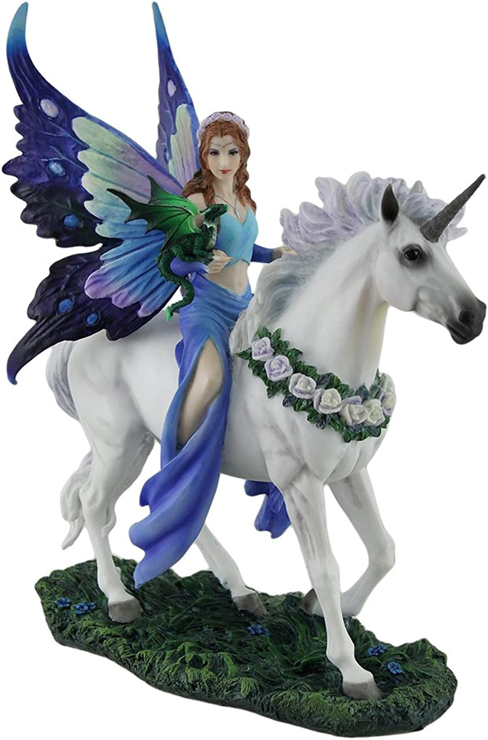 Veronese Polyresin Statues Anne Stokes Realm Of Enchantment bluee Fairy Statue 8 X 10.5 X 4 Inches bluee