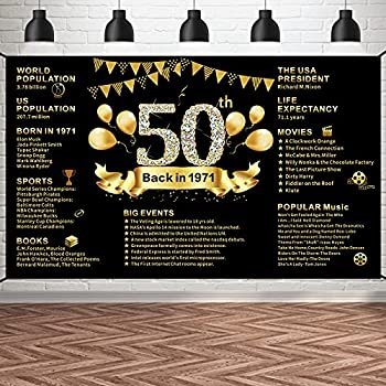 Pimvimcim 50th Birthday Banner Backdrop Decorations for Women Black Gold Back in 1971 Banner 50 Year Old Birthday Party Poster Supplies Extra Large Happy Fifty Birthday Decor Photo Booth 6x3.6ft