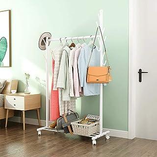 Porte-manteau Porte-vêtements en métal minimaliste avec rail de suspension et étagère de rangement inférieure pour boîtes,...