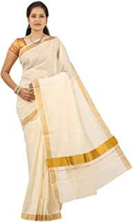 FABS JP Women's Cotton Saree With Blouse Piece (ONAM_SAREE_2_C_Gold)
