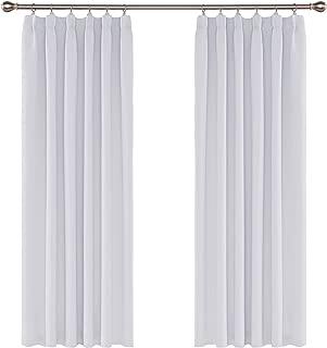 Umi. by Amazon - Cortinas Opacas Color Liso de Dormitorio con Bolsillo 2 Piezas 117 x 183 cm Blanco Gris