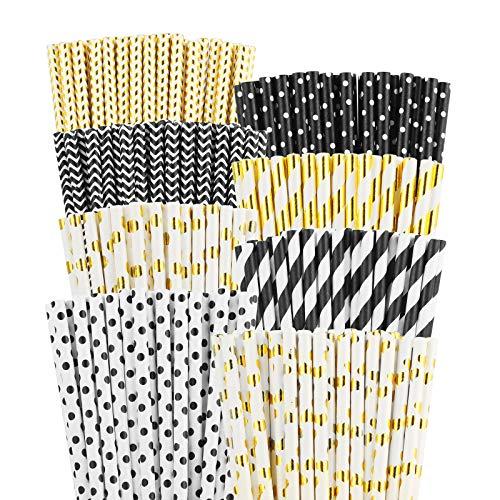 PATAZOK Cannucce di Carta,200 Pezzi Cannucce di Carta Biodegradabili Nero Oro Cannucce di Carta per Feste Bevande Monouso Conveniente Festa di Compleanno