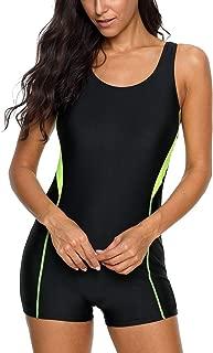 Womens Sports One Piece Swimsuits Boyleg Bathing Suits Training Swimwear