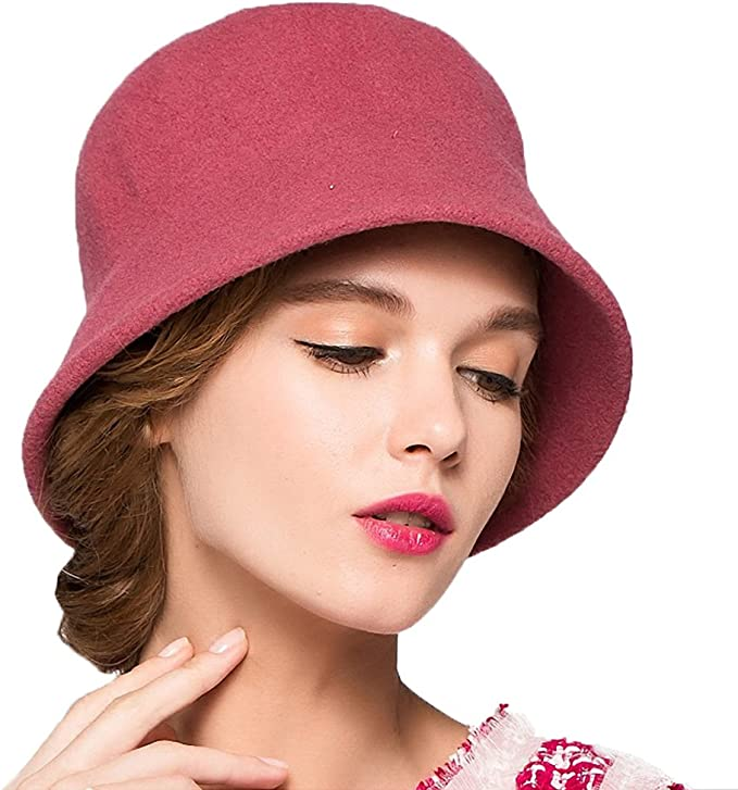 1920s Hat Styles for Women – History Beyond the Cloche Hat Maitose Womens Simple Wool Felt Bucket Hat  AT vintagedancer.com