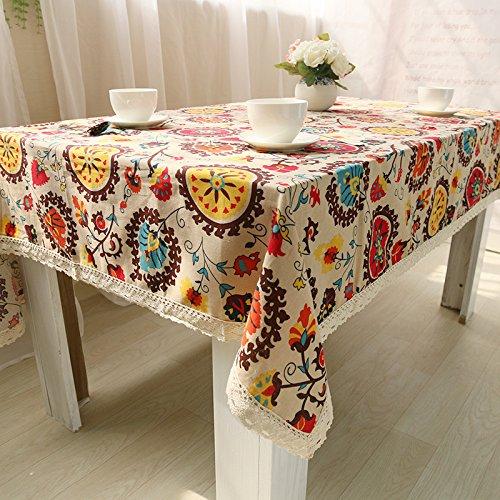 BLUELSS Style Bohème, Table rectangulaire en Tissu de Coton Bord Dentelle imprimé Lettre Nappes Housse en Tableau Couvre toalha de mesa140*180cm