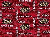 Ohio State Fleece Blanket Fabric-Ohio State Buckeyes Fleece Fabric-Camouflage Design