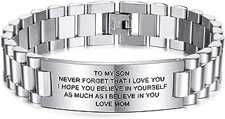 MeMeDIY TO MY Son el Amor de MAMÁ Y PAPÁ Courage Pulseras Inspiradoras Regalos de graduación Personalizados para Adolescen...