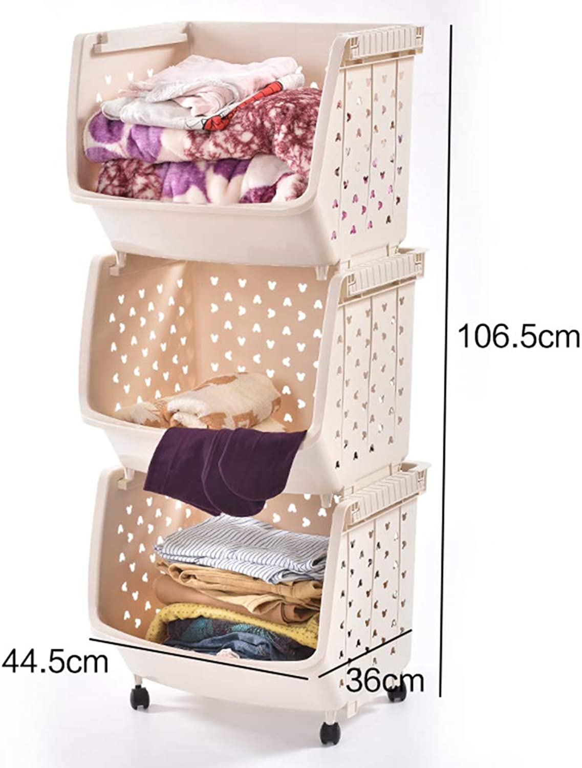 Plastic Storage Laundry Basket Stackable Container - Pack of 3 ZHANGQIANG (color   Beige, Size   Three Floors)
