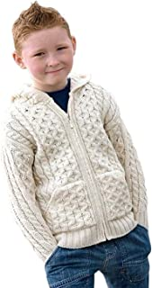100% Irish Merino Wool Little Boys Hooded Zip Sweater with Pockets by West End