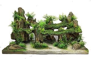 Caige Fish Tank Las Decoraciones, la simulación de rocalla Resina Paisajismo Acuario Ornamentos Decorativos,Verde