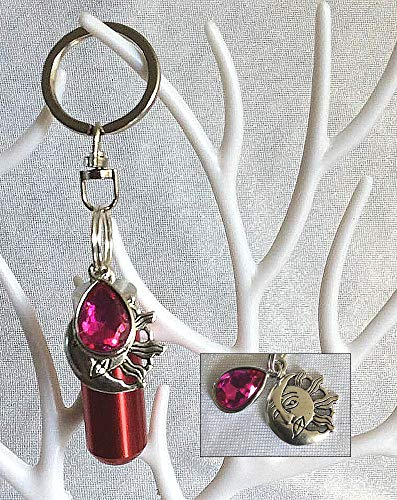 The Birthstone Collection: Cremation Jewelry - Urna de luto conmemorativa con colgante de octubre (turmalina) adjunta y bolsa de joyería y kit de relleno.