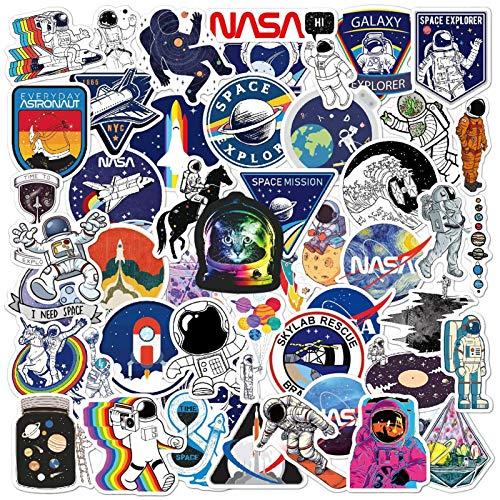 DTMEFJ 100pcs NASA Space Explorer Stickers Pack,Astronaut Spaceman Spacecraft Universe Planet Graffiti Decals,Cute Space Explorer Vinyl Stickers for Water Bottle Laptop Skateboard Luggage