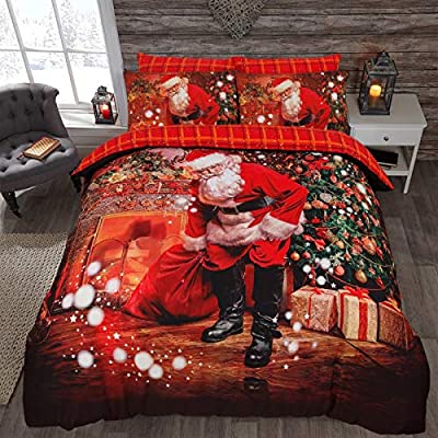Father Christmas Sleigh Ride Duvet Cover Bedding Set In Single - Double - King