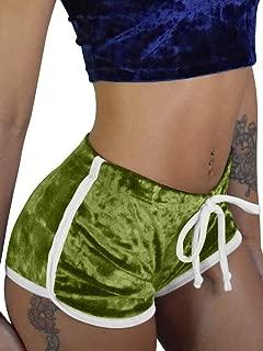 Women's Sexy Drawstring Velvet Outfits High Waist Club Mini Shorts