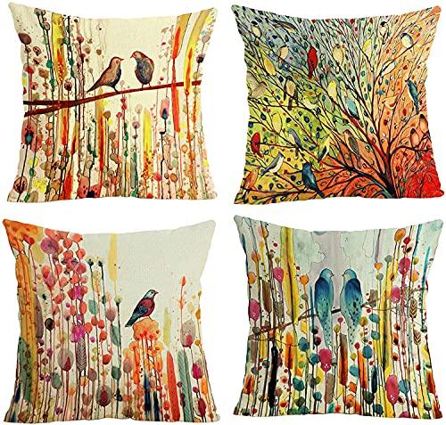 Funda de cojín decorativa de lino de algodón de 45 x 45 cm, cuadrada para sofá, cama, sala de estar, sofá, silla, coche, con cremallera invisible, paquete de 4 acuarelas (pájaros de acuarela)