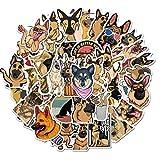 JZLMF Pegatinas de Pastor alemán para álbum de Recortes, portátil, Guitarra, monopatín, Maleta, calcomanía, Animal, Cachorro, Perro, Pegatina 50 unids/Set