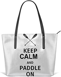 Keep Calm And Paddle On Leather Tote Large Purse Shoulder Bag Portable Storage HandBags Convenient Shoppers Tote