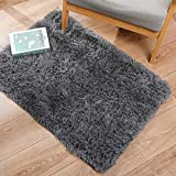 Ophanie Ultra Soft Fluffy Area Rugs for Bedroom, Luxury Shag Rug Faux Fur Non-Slip Floor Carpet for Kids Room, Baby Room, Girls Room, Play Room, and Nursery - Modern Home Decor, 2x3 Feet Grey