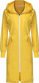 خانمها کت بارانی بلند ضد آب ضد آب ELESOL کت سبک بارانی کلاه دار در فضای باز و طبیعت گردی کت های بارانی تنفس S-XXL