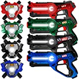 Best Choice Products Set of 4 Infrared Laser Tag Set for Kids & Adults w/ Synced Blasters & Vests Multiplayer Mode -...