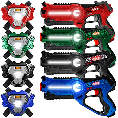 Best Choice Products Set of 4 Infrared Laser Tag Set for Kids & Adults w/ Synced Blasters & Vests Multiplayer Mode - Red/Blue/Black/Green