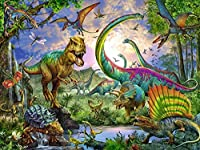 DIY 5Dダイヤモンド絵画フルスクエアドリルキットラインストーン初心者大人ピクチャーアートクラフト家の壁の装飾(16x20inch / 40x50cm)恐竜