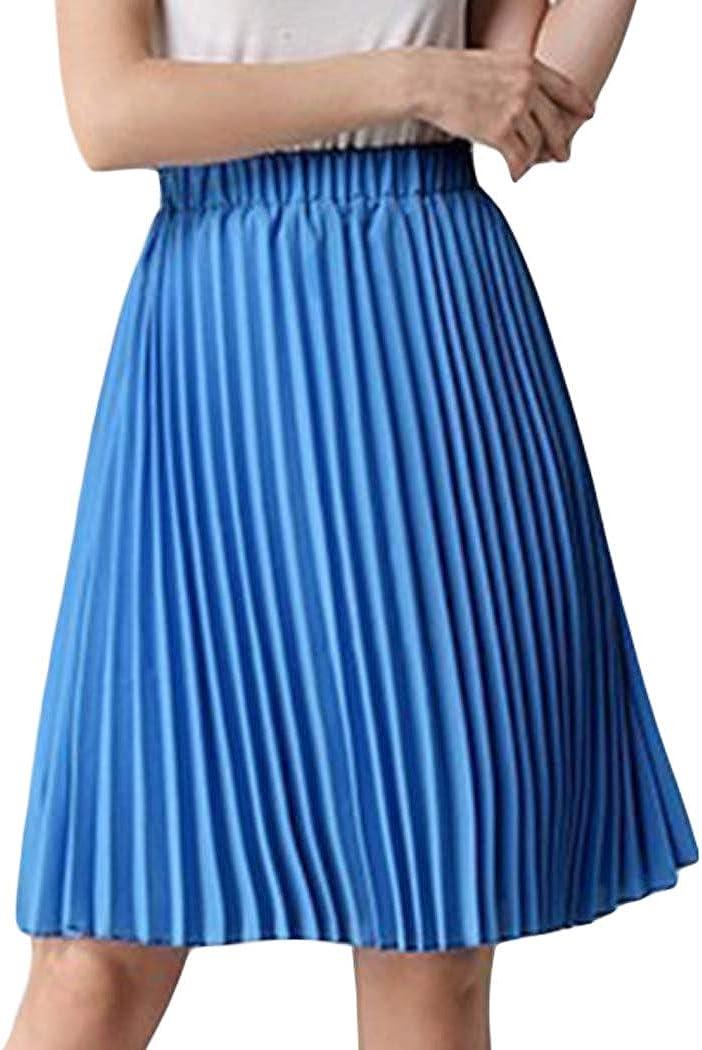 honuansortory Womens Pleated Long Skirts Summer Bohemia A-line Skirt Casual Maxi Skirt