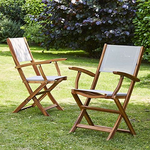 Bois Dessus Bois Dessous 2 Lot de 2 Fauteuils Pliants en Bois d'Acacia Fsc et Textilène