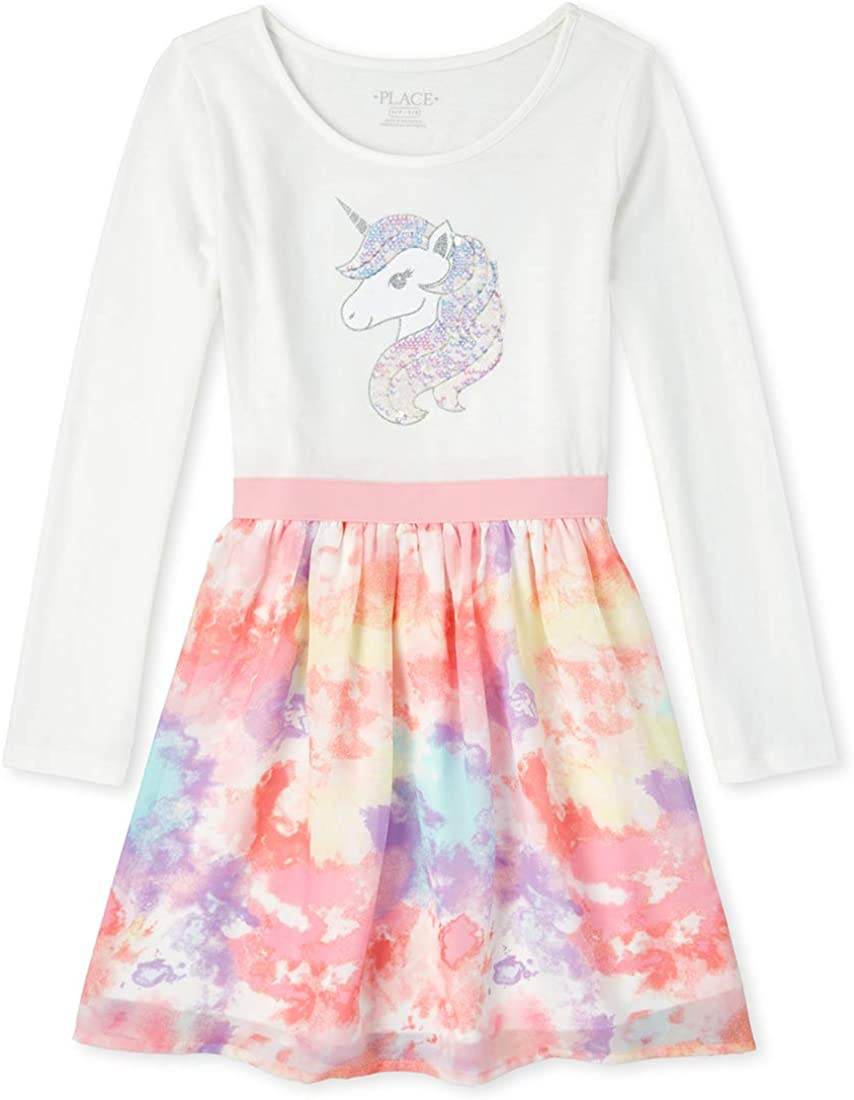 The Children's Place Girls' Flip Sequin Knit to Woven Dress