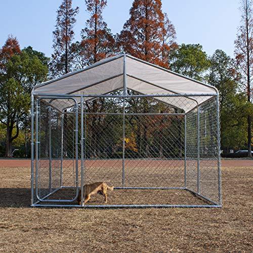 wonline Heavy Duty Dog Outdoor Playpen with Door Waterproof Cover Dog Crate Pet Kennel Puppy Playpen for Large Medium Small Dogs Outdoor Indoor Garden Dog House Playpens