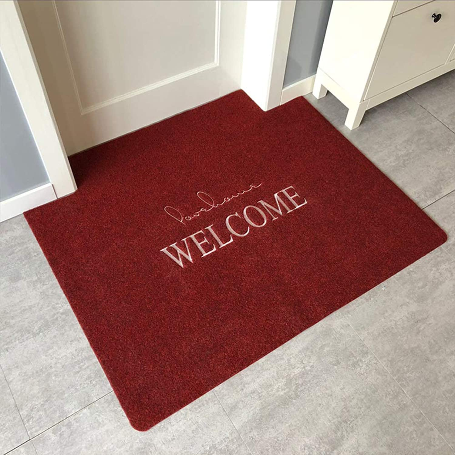 Door mat,Entrance Rug Front Entrance Door mat Non Slip Door mat Rectangle Rug Indoor Outdoor mats-red 60x90cm(24x35inch)