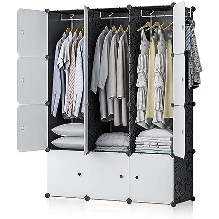 Portable Wardrobe Closet Cube Storage Armoire Plastic Dresser 3x4 Tiers White