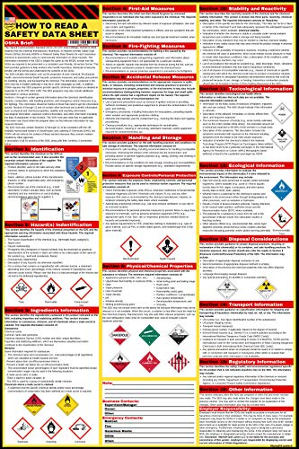 How to Read A Safety Data Sheet (SDS/MSDS) Poster | 24 x 36 Inch | UV Coated Paper Sign | for OSHA, HMIS, Hazard Compliance Center | Display Reading Instructions for Chemical Labels & GHS Pictograms