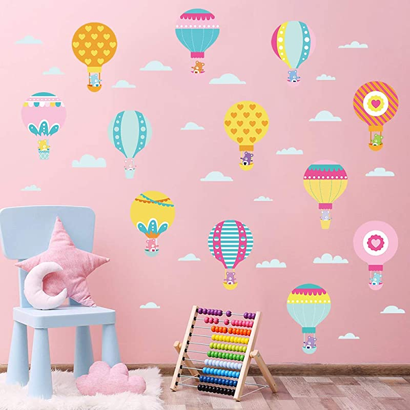 Decalmile Colorful Hot Air Balloon Wall Decals Care Bears Baby Wall Stickers Nursery Room Kids Bedroom Wall Decor