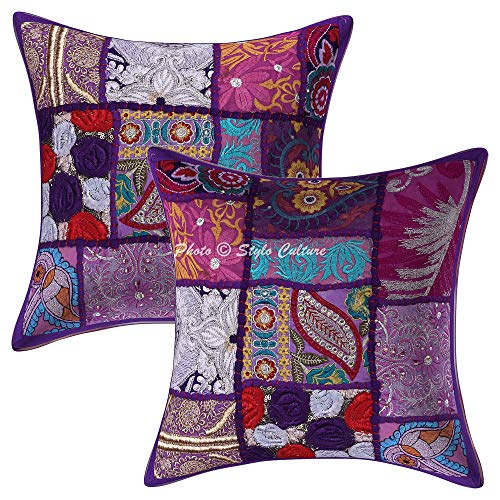 Stylo Culture Ethnic Decorative Couch Sofa Seat Cushion Covers Purple 12 Inch Vintage Patchwork 30 x 30 cm Cotton Bohemian Abstract Square Scatter Cushion Covers | Set Of 2