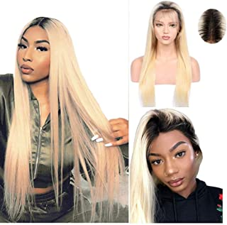Upgrade 13X6 Lace Frontal Wigs Long Human Hair Pre Plucked Blonde With Natural Black 1B/613 Brazilian Wigs Glueless 180% Density Free Part Bleached Knots(24 inches)