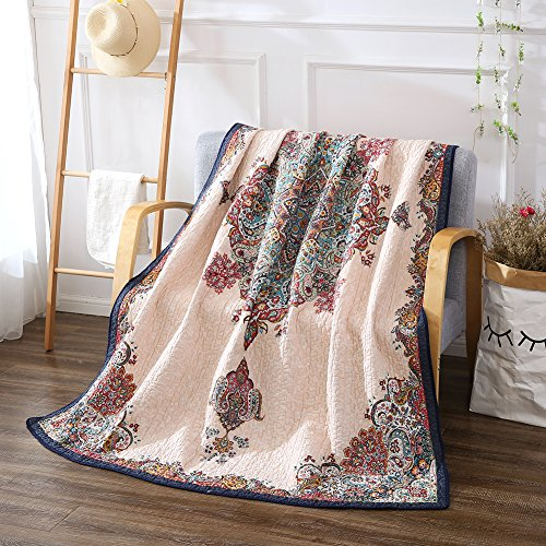 NEWLAKE Quilted Throw Blanket for Bed Couch Sofa,