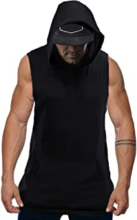 Mens Sleeveless Hoodie Gym Tank Tops Bodybuilding Muscle Activewear Shirt with Pocket