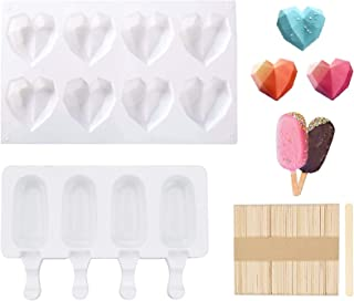 Heart Shaped Ice Cream Mold Popsicle Mold Ice Cream Molds Heart Shapes Silicone with 50pcs wooden sticks For Cake Decorati...