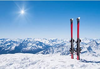 YongFoto 7x5ft Winter Snowy Mountain Skiing Photography Backdrop Red Skis Sun Background Natural Landscape Ski Resort Holiday Party Banner Decor Kids Adult Portrait Photo Studio Props Wallpaper