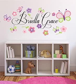 Flowers and Butterflies Personalized Custom Name Childrens Nursery Printed Vinyl Wall Decal PLUS FREE 12