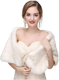 Women's Faux Fur Wraps Wedding Fur Shawls Sleeveless 1920 Faux Fur Stole for Women and Girls Fur Capelet Mink Shawl