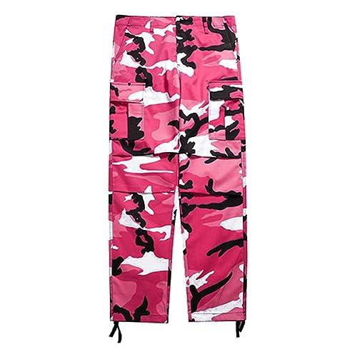 Hibote Camo Cargo Pants Mens Womens Baggy Tactical Hip Hop Streetwear Pants c76c0b5eea4