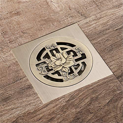 PIJN Bodenablauf Quadrat Rund Deodorant Badezimmer Großer Fluss Grün Bronze Antique Bodenablauf All Copper Bodenablauf (Color : Metallic, Size : 100x100x71mm)