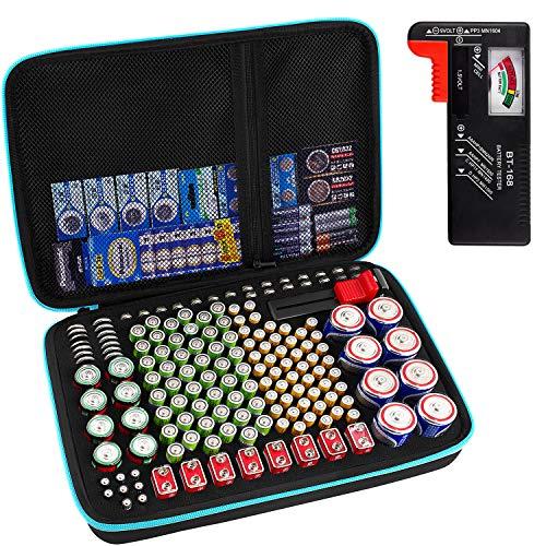 Batteriebox Tragetasche Aufbewahrungsbox für Batterieorganisator mit Batterietester (BT168), Tasche Halter für 220+ Batterien AA AAA AAAA 9 V C D Lithium 3 V (ohne Batterien) (Blau)